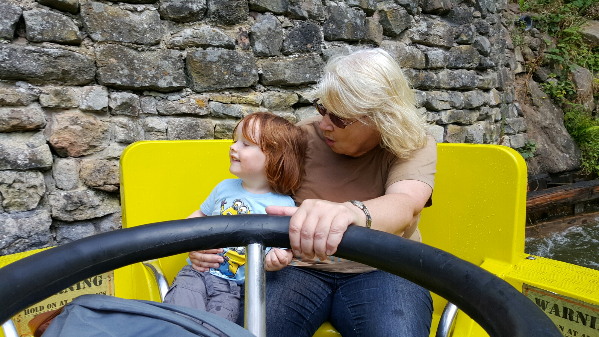 With Grandma on the water ride